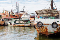Port of Cienfuegos. Port with old ships and boats in Cienfuegos (UNESCO Herritage), Cuba Royalty Free Stock Image