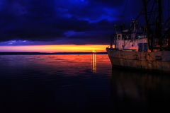 Port Cienfuegos przy nocą Obrazy Royalty Free