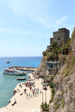 Port in Cinque Terre village Monterosso al Mare, Torre aurora and Mediterranean Sea Stock Photography