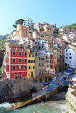 Port of Cinque Terre village Riomaggiore with colorful houses Royalty Free Stock Image