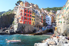 Port of Cinque Terre village Riomaggiore with colorful houses Royalty Free Stock Photography