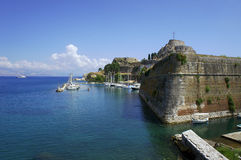 Port and citadel in city of Corfu Stock Photos