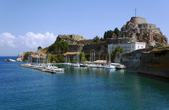 port and citadel in city of Corfu Stock Images