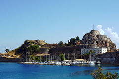 Port and citadel in city of Corfu Royalty Free Stock Photo