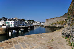 Port and citadel of Le Palais at Belle Ile in Fran Stock Images