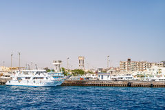 A port city with docks for yachts. Red sea, Egypt. Royalty Free Stock Photo