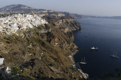 Port and city of Fira Santorini Stock Photography