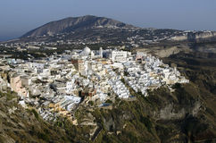 Port and city of Fira Santorini Stock Images