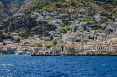 Port and city of hydra Stock Photography