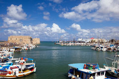 Port of the city of Iraklion. And kind on the Venetian port with a fortress Stock Image