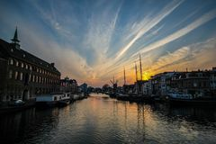 Sunset at Leiden. Port city Leiden during sunset time with wonderful cloud Royalty Free Stock Photography