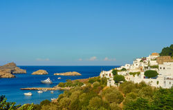 Port city of Lindos on the island of Rhodes Stock Photography