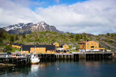 Port city on Lofoten Islands in Norway Royalty Free Stock Photos