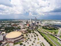 Aerial view of downtown Mobile, Alabama royalty free stock photo
