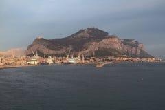 Port city and Monte-Pellegrino cape. Palermo, Sicily, Italy. 24-11-2016 Royalty Free Stock Photos