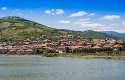 Port city Orsova on Danube river Stock Image