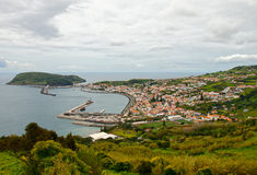Port and the city of Orta, Azores Royalty Free Stock Photography