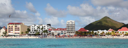 The port city of Phillipsburg, St. Martin, DWI. Panoramic image of a seaside view of the port city of Phillipsburg, St. Martin, DWI Royalty Free Stock Photography
