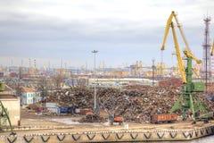 Port of city Saint Petersburg. Scrapmetal Royalty Free Stock Photo