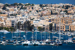 Port at city Valletta Royalty Free Stock Photos