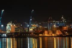 Port of La Spezia at night - Liguria Italy. Port and commercial dock of La Spezia at night. Liguria, Italy, Europe royalty free stock images