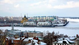 Port on confluence two rivers Nizhny Novgorod Stock Image