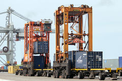 Port container handling Stock Photos
