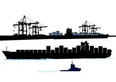 Port with container ship. And tug vector illustration