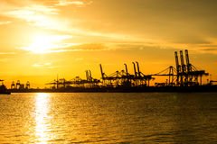 Port container terminal for transportation your product Royalty Free Stock Image