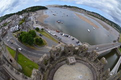 Port Conwy & castle Stock Image