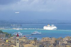 Port and Corfu town panorama, Corfu Greece Royalty Free Stock Photos