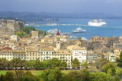 Port and Corfu town panorama, Corfu Greece Stock Image