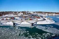 Port couvert de la glace Photos libres de droits