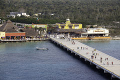Port of Cozumel Cruise Pier. The last few passengers left on shore make their way back to the ship before departure. Cozumel is a popular resort destination and Royalty Free Stock Image
