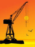 Port crane. Silhouette of the port crane, color illustration Stock Images