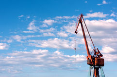 Port crane against sky Stock Image