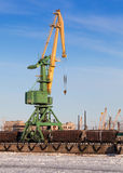 Port crane with cargo train Stock Photo