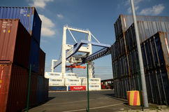 Port crane and  container Terminal. Port container crane and dock at the port on the Rhine at Krefeld near Düsseldorf -  Danes container Termina Stock Image