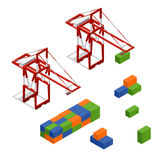 Port Crane and Loading Color Freight Container Isometric View. Vector Stock Images