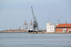 Port with crane and ship Thessaloniki Royalty Free Stock Photography
