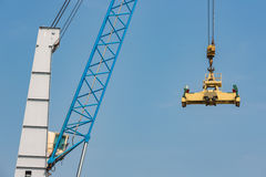 Port crane for transipment of freight containers Stock Photography