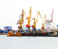 Port cranes. Huge cargo port cranes at operation Stock Photo