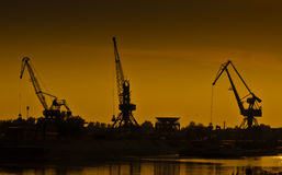 Port cranes. Novi Sad port cranes at sunset Stock Image