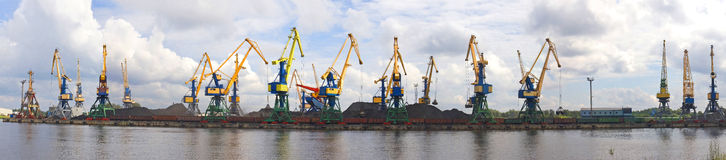 Port with cranes Stock Image