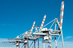 Port cranes. Port cargo cranes in Vado Ligure stock photography