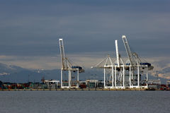 Port cranes. Vancouver port Royalty Free Stock Photography