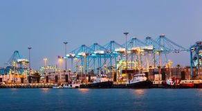 Port with cranes. Algeciras Royalty Free Stock Photo