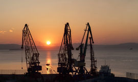 Port cranes on a background of rising sun Royalty Free Stock Images