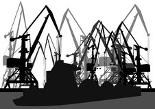 Port cranes and barge Royalty Free Stock Image