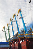 Port cranes with blue sky Royalty Free Stock Image